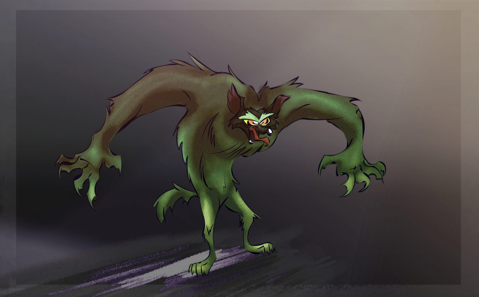 Chuck Jones style Werewolf concepts – shaded